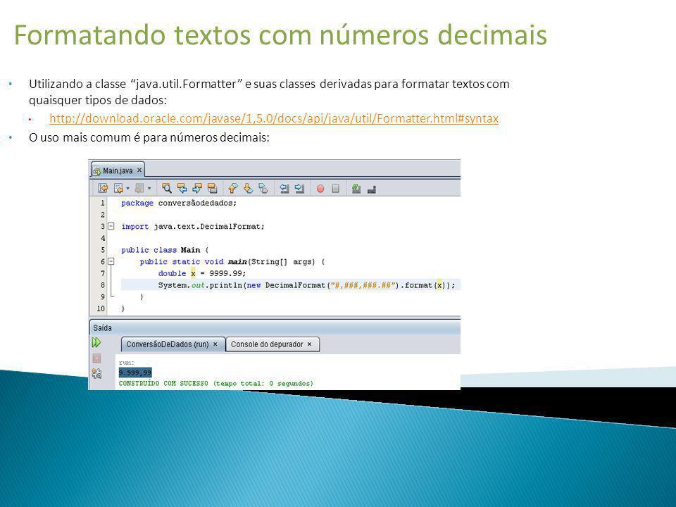 Formatando textos com números decimais