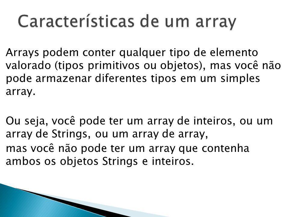 Características de um array