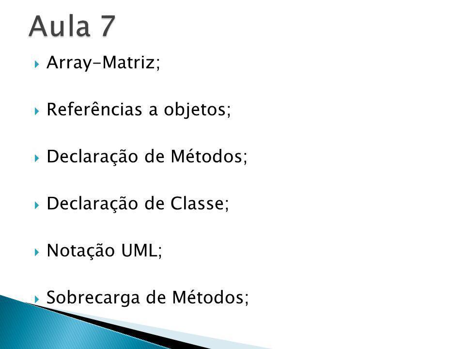 Aula 7 Array-Matriz; Referências a objetos; Declaração de Métodos;