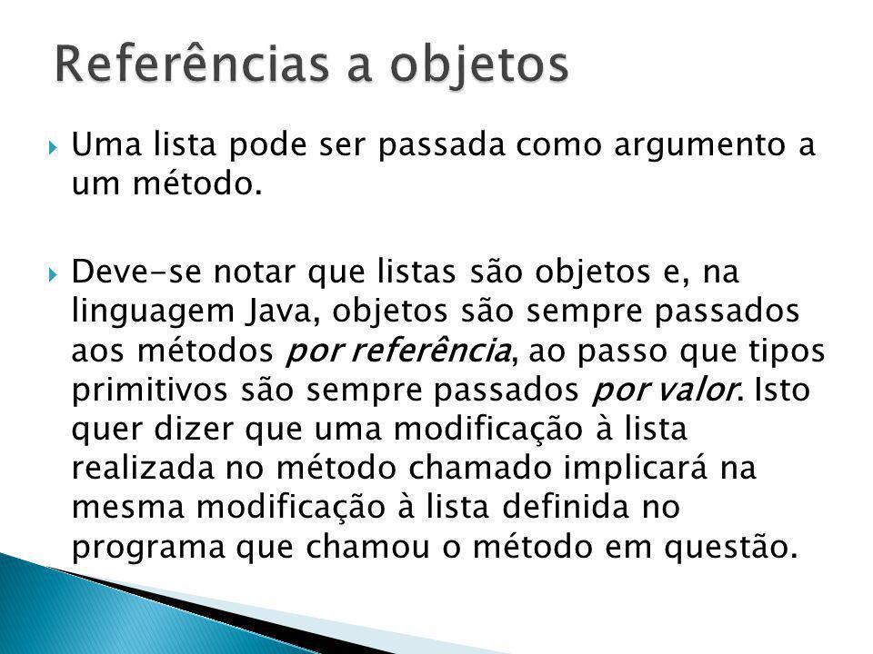 Referências a objetos Uma lista pode ser passada como argumento a um método.