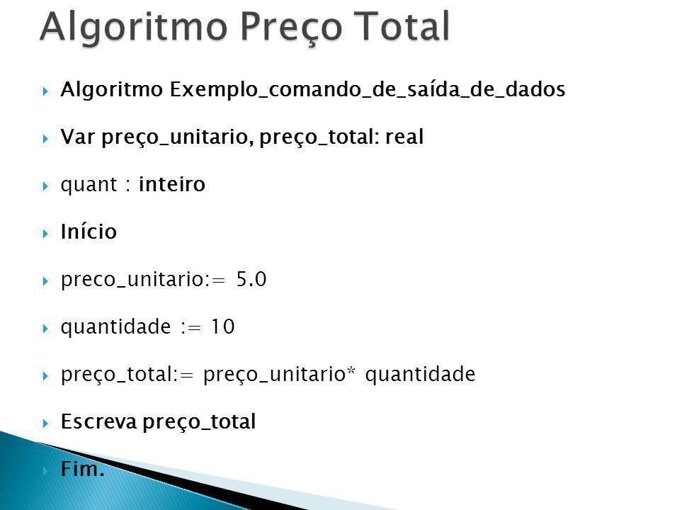 Algoritmo Preço Total Algoritmo Exemplo_comando_de_saída_de_dados