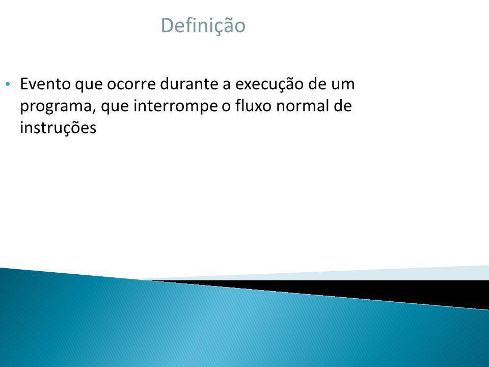 Definição Evento que ocorre durante a execução de um programa, que interrompe o fluxo normal de instruções.
