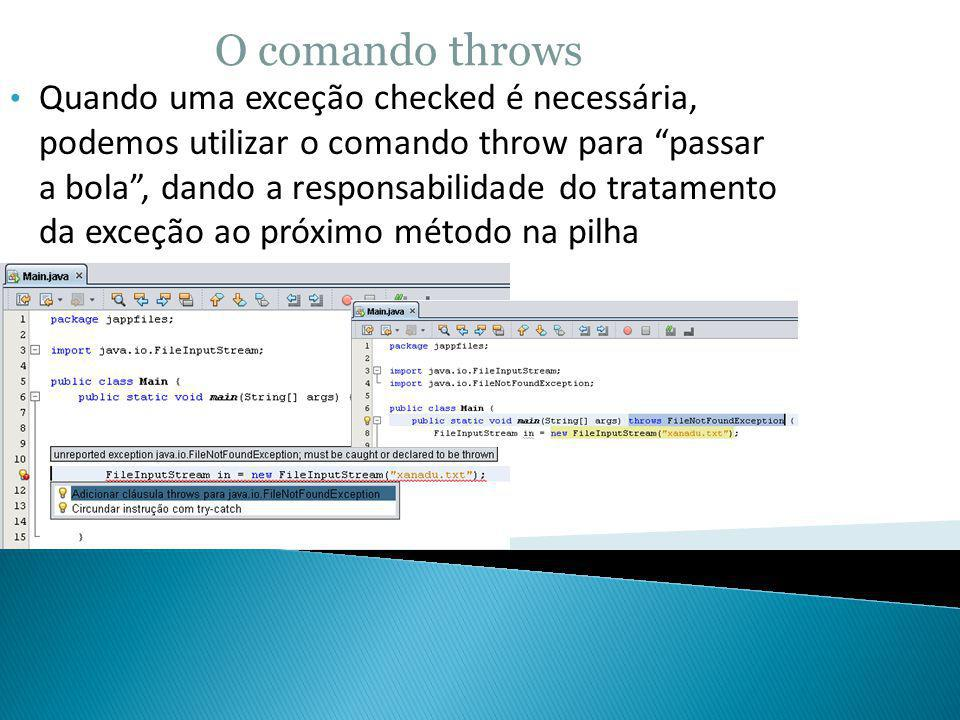 O comando throws