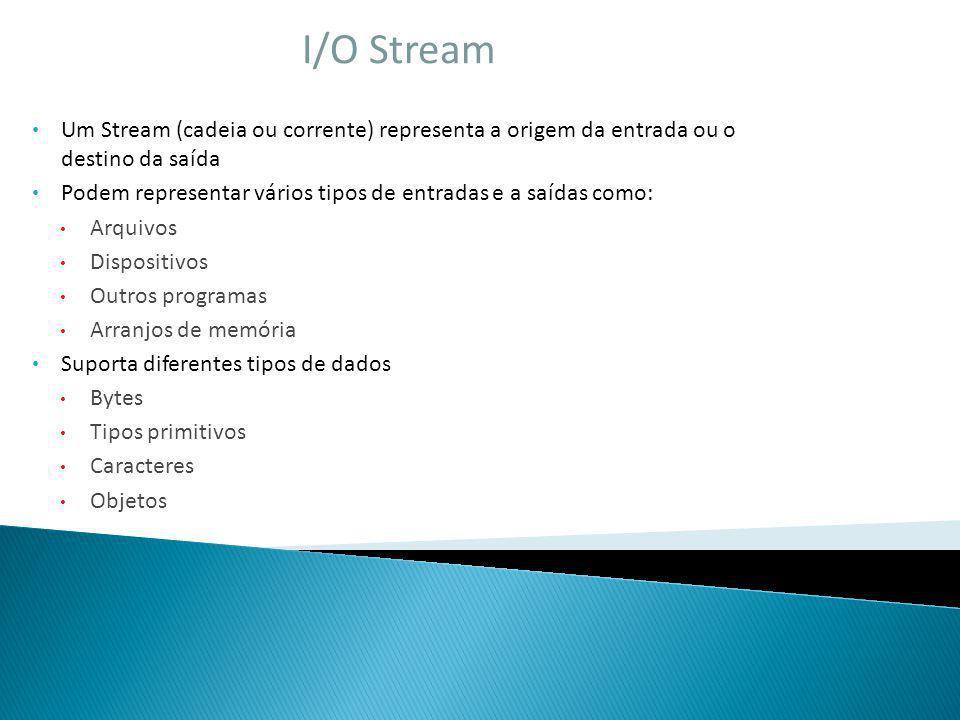 I/O Stream Um Stream (cadeia ou corrente) representa a origem da entrada ou o destino da saída.