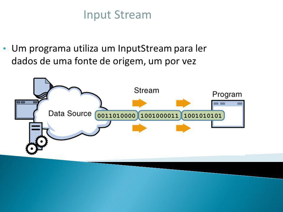 Input Stream Um programa utiliza um InputStream para ler dados de uma fonte de origem, um por vez