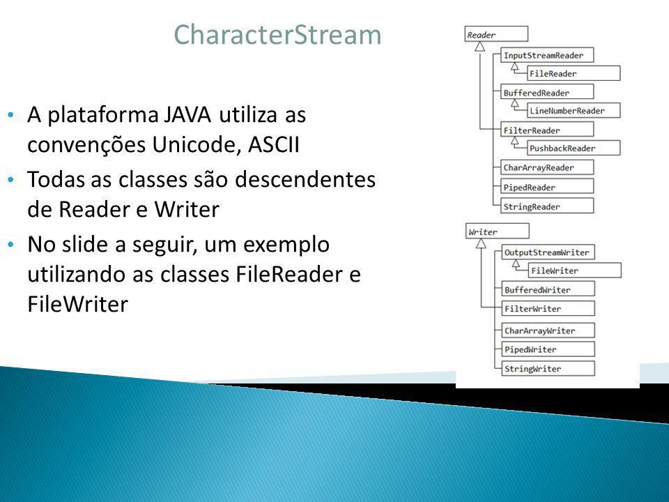 CharacterStream A plataforma JAVA utiliza as convenções Unicode, ASCII