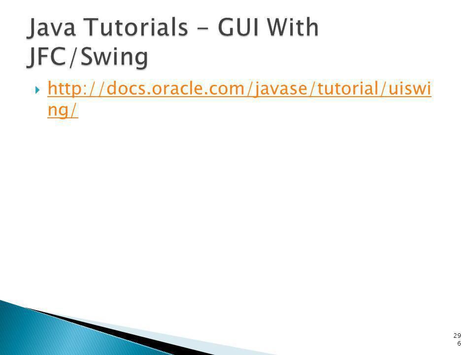 Java Tutorials - GUI With JFC/Swing