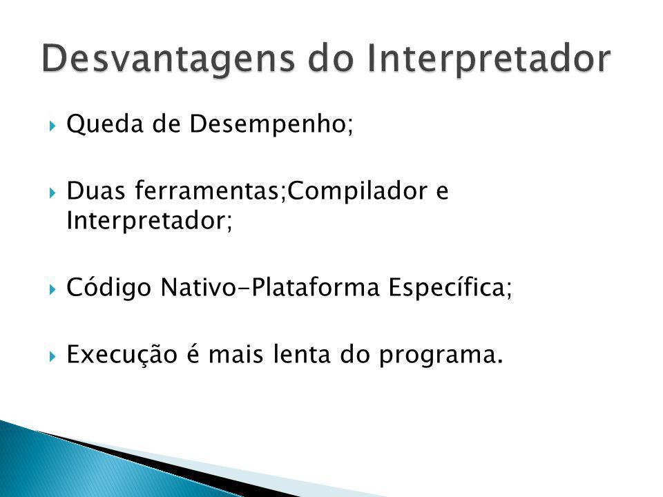 Desvantagens do Interpretador
