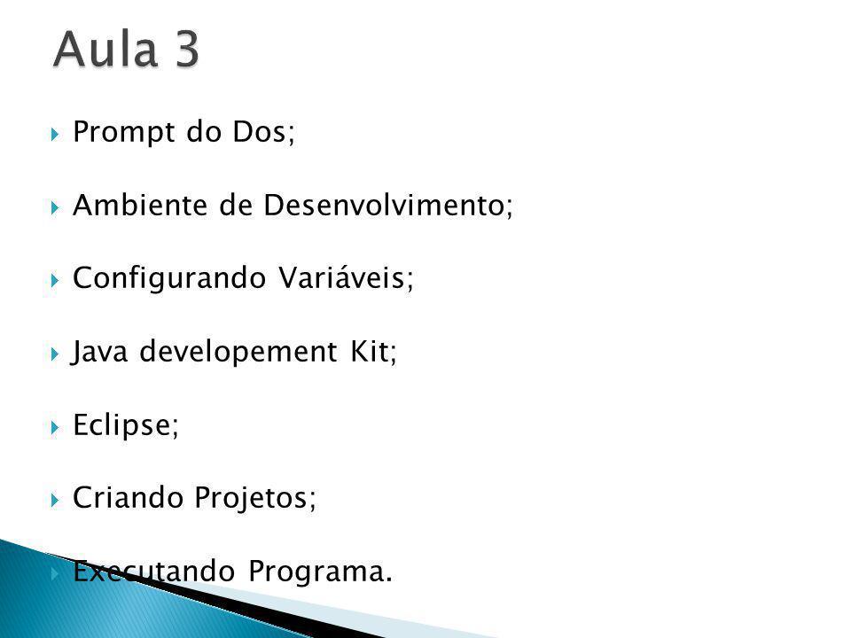 Aula 3 Prompt do Dos; Ambiente de Desenvolvimento;