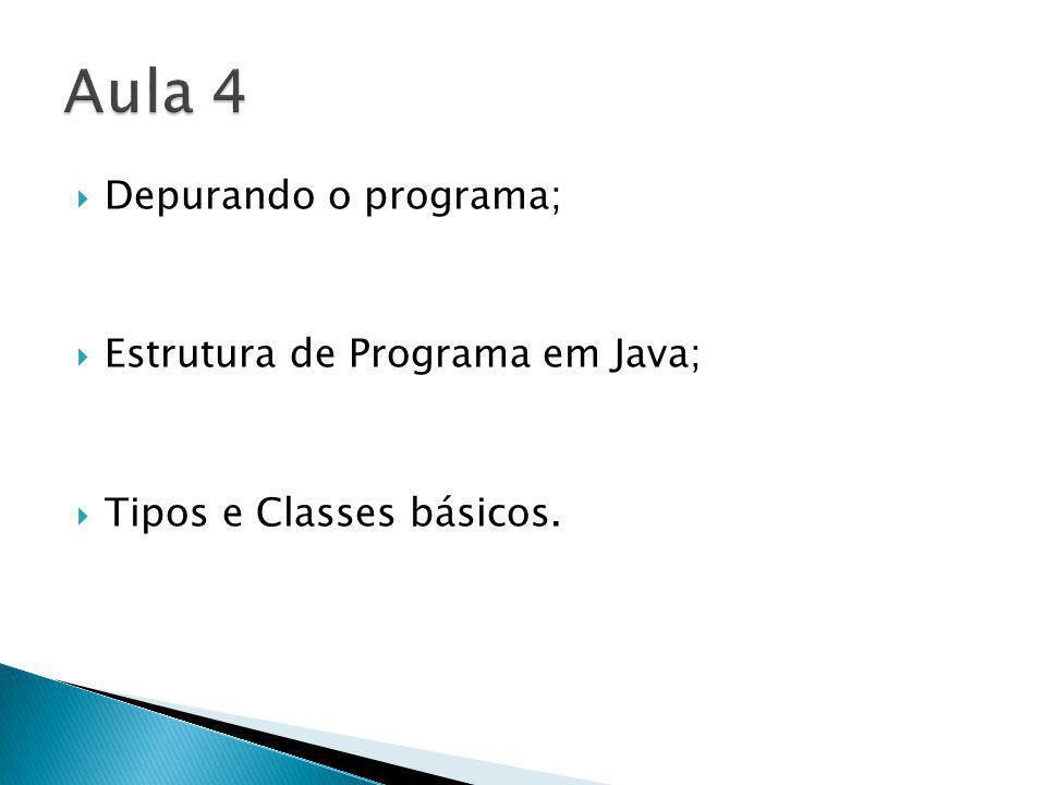 Aula 4 Depurando o programa; Estrutura de Programa em Java;