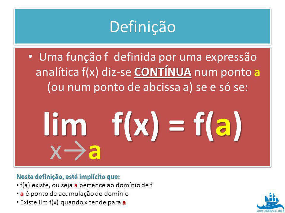 lim f(x) = f(a) x→a Definição