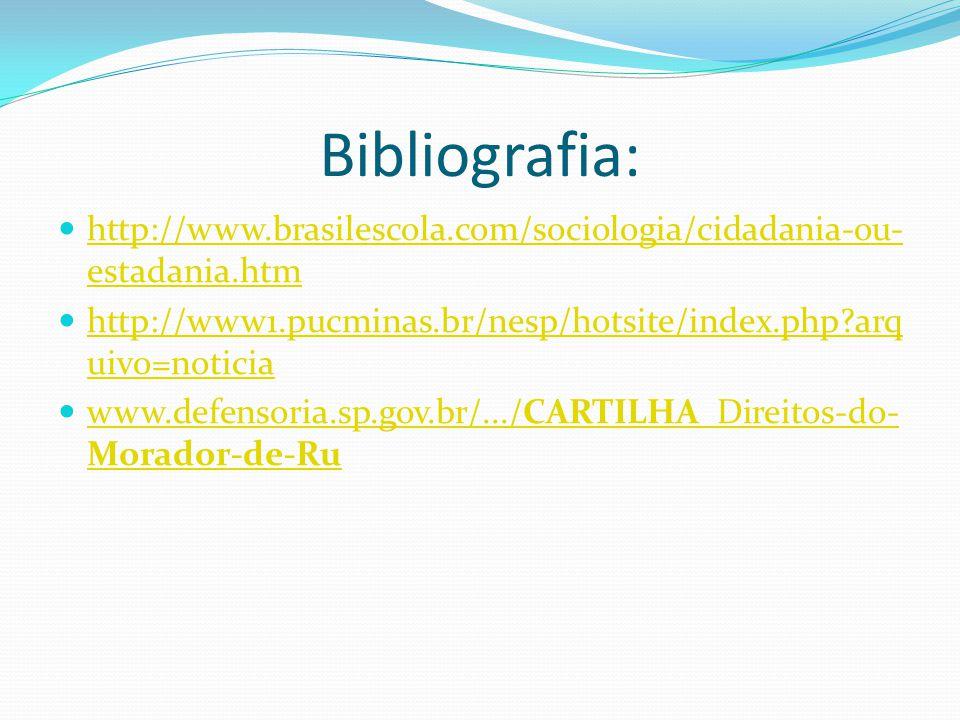 Bibliografia: http://www.brasilescola.com/sociologia/cidadania-ou-estadania.htm. http://www1.pucminas.br/nesp/hotsite/index.php arquivo=noticia.