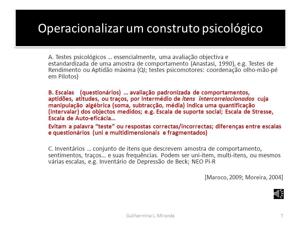 Operacionalizar um construto psicológico