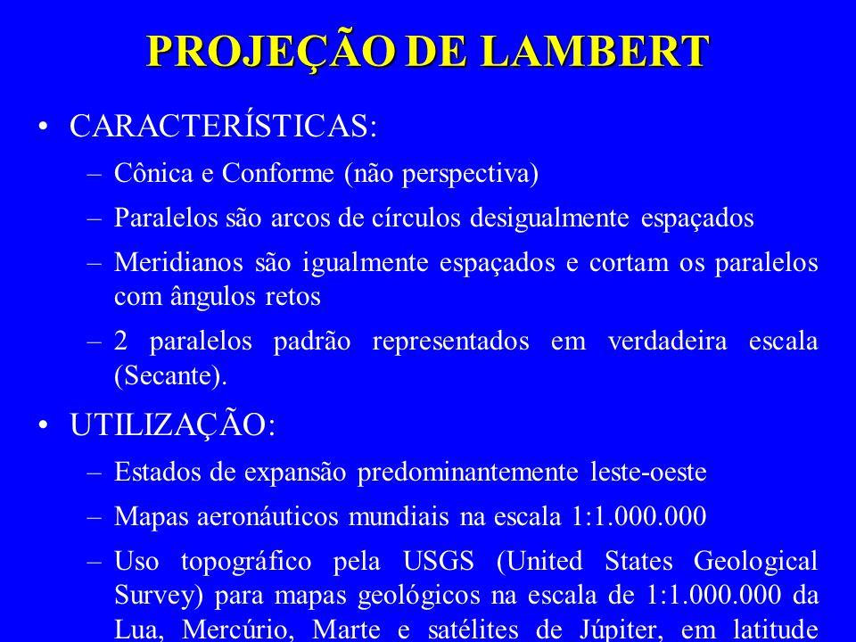 PROJEÇÃO DE LAMBERT CARACTERÍSTICAS: UTILIZAÇÃO: