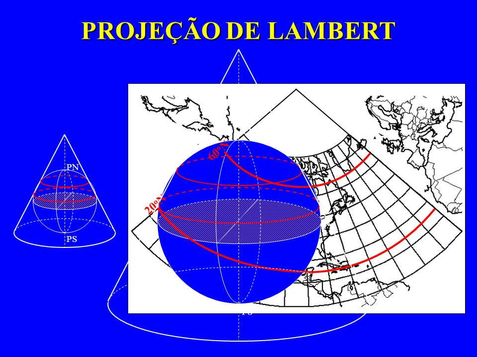PROJEÇÃO DE LAMBERT PN PS 20oN 60oN PN PS