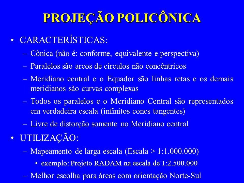 PROJEÇÃO POLICÔNICA CARACTERÍSTICAS: UTILIZAÇÃO: