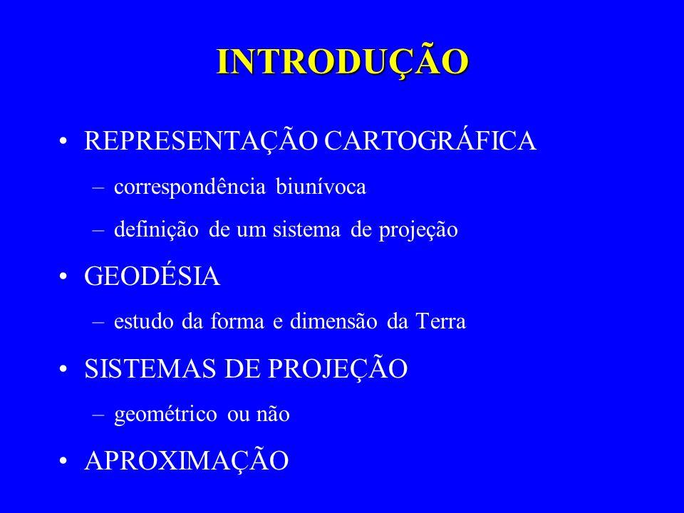 INTRODUÇÃO REPRESENTAÇÃO CARTOGRÁFICA GEODÉSIA SISTEMAS DE PROJEÇÃO
