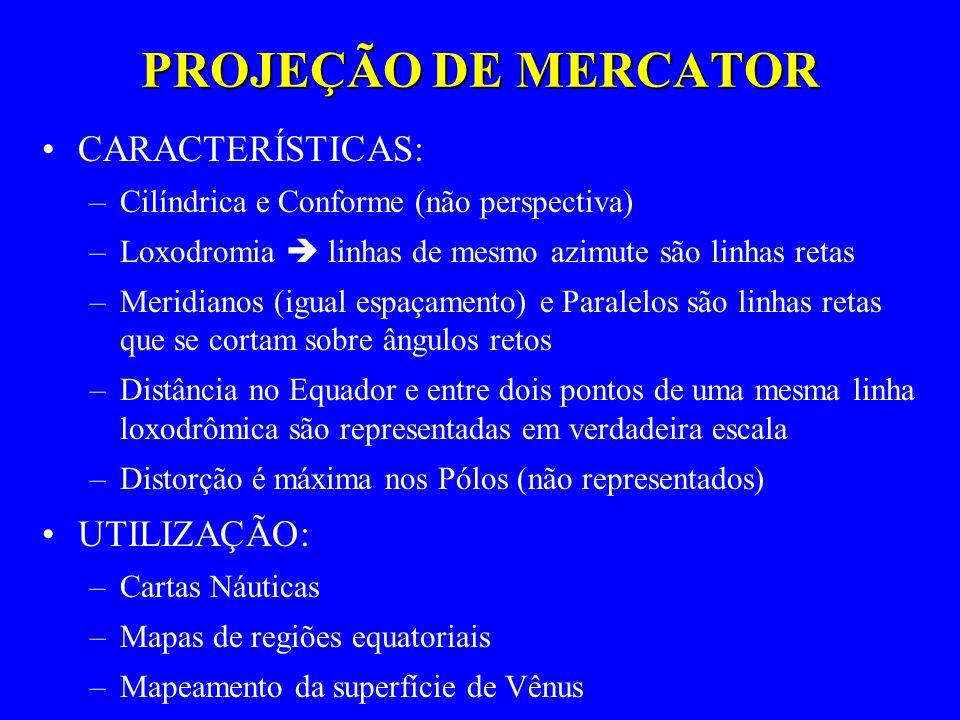 PROJEÇÃO DE MERCATOR CARACTERÍSTICAS: UTILIZAÇÃO: