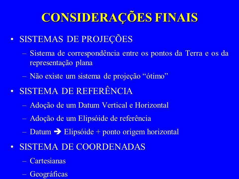 CONSIDERAÇÕES FINAIS SISTEMAS DE PROJEÇÕES SISTEMA DE REFERÊNCIA