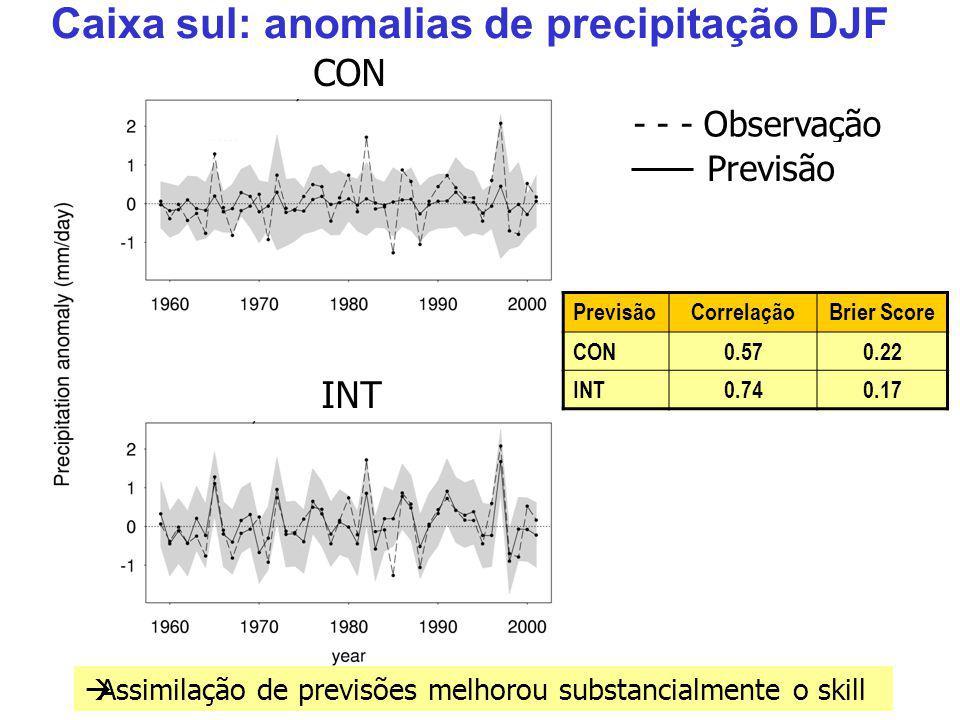 Caixa sul: anomalias de precipitação DJF