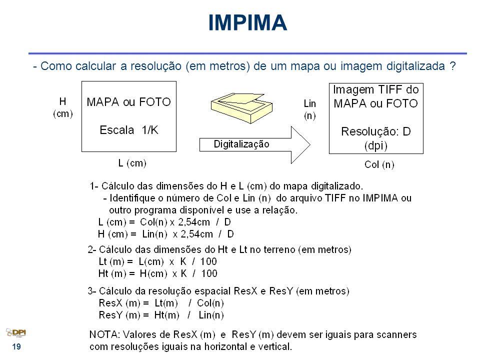 IMPIMA - Como calcular a resolução (em metros) de um mapa ou imagem digitalizada 10