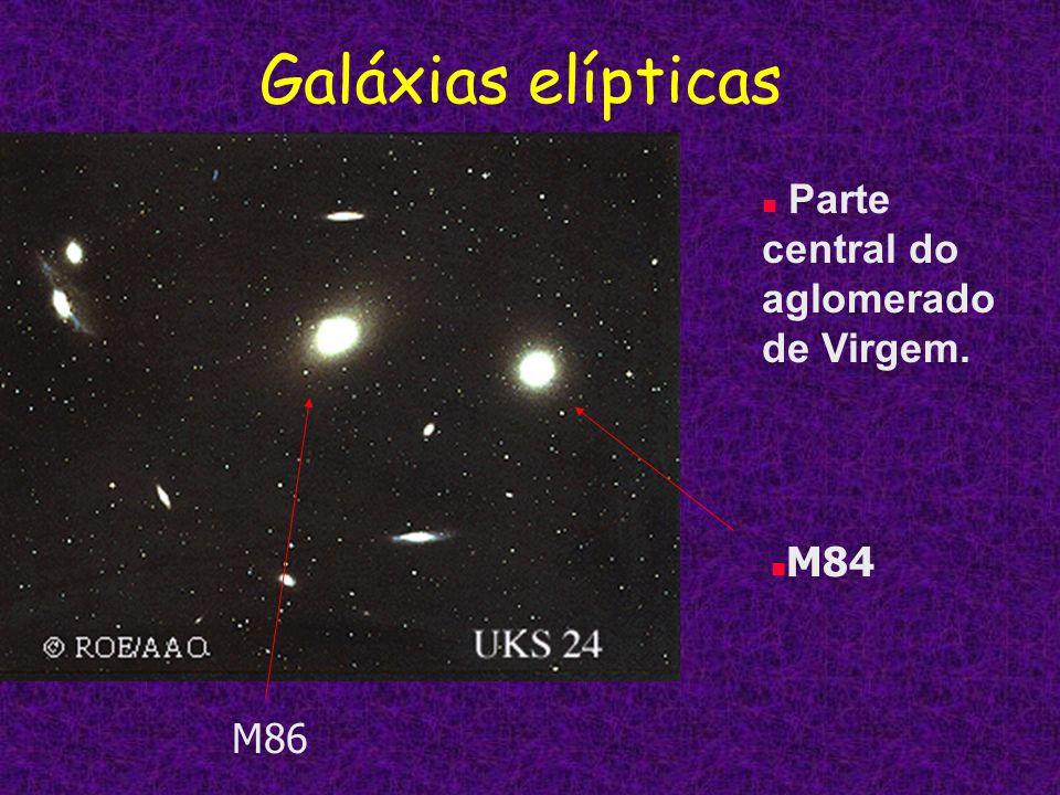Galáxias elípticas Parte central do aglomerado de Virgem. M84 M86