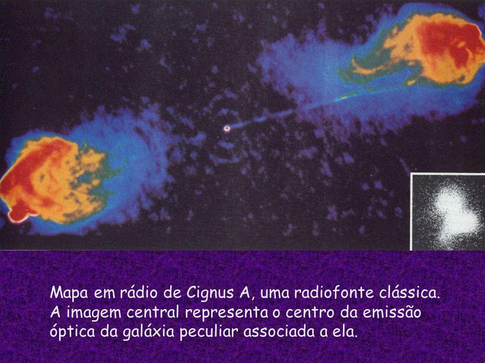 Mapa em rádio de Cignus A, uma radiofonte clássica