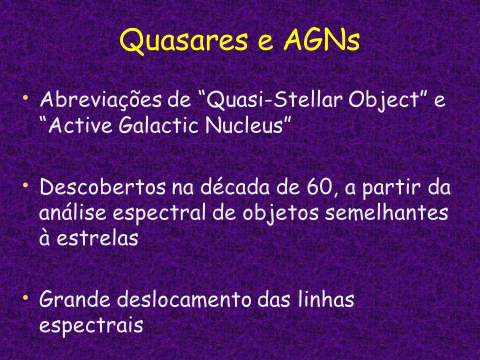 Quasares e AGNs Abreviações de Quasi-Stellar Object e Active Galactic Nucleus