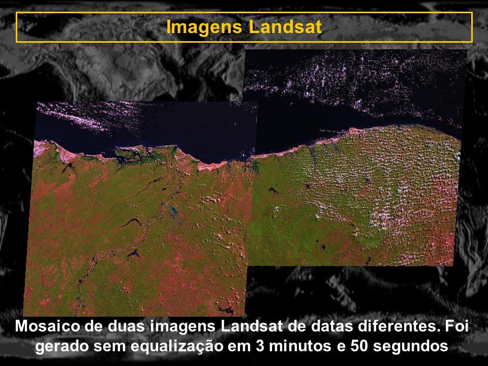 Imagens Landsat Mosaico de duas imagens Landsat de datas diferentes.