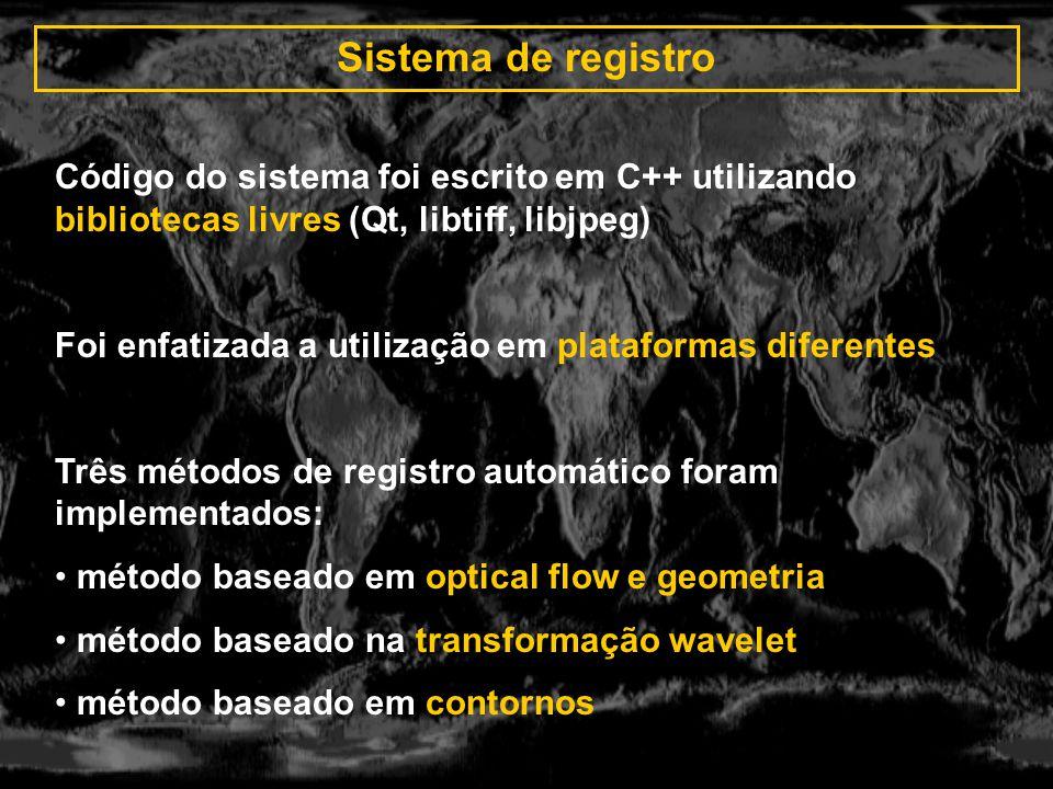 Sistema de registro Código do sistema foi escrito em C++ utilizando bibliotecas livres (Qt, libtiff, libjpeg)
