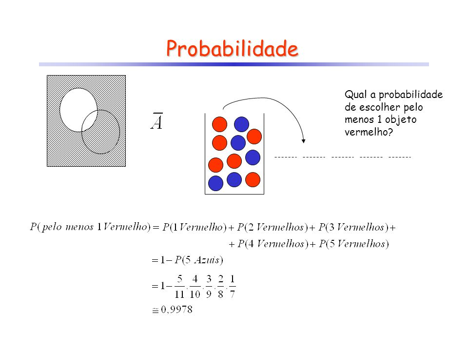 Probabilidade Qual a probabilidade de escolher pelo menos 1 objeto vermelho