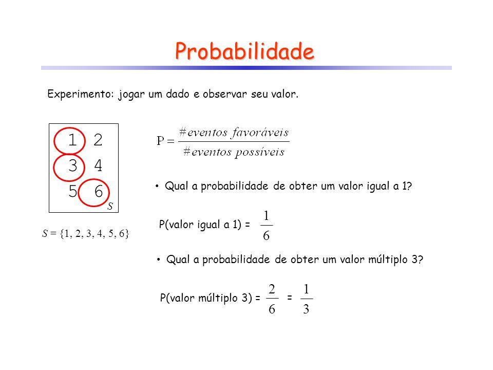 Probabilidade Experimento: jogar um dado e observar seu valor. 1. S. 2. 3. 4. 5. 6. Qual a probabilidade de obter um valor igual a 1