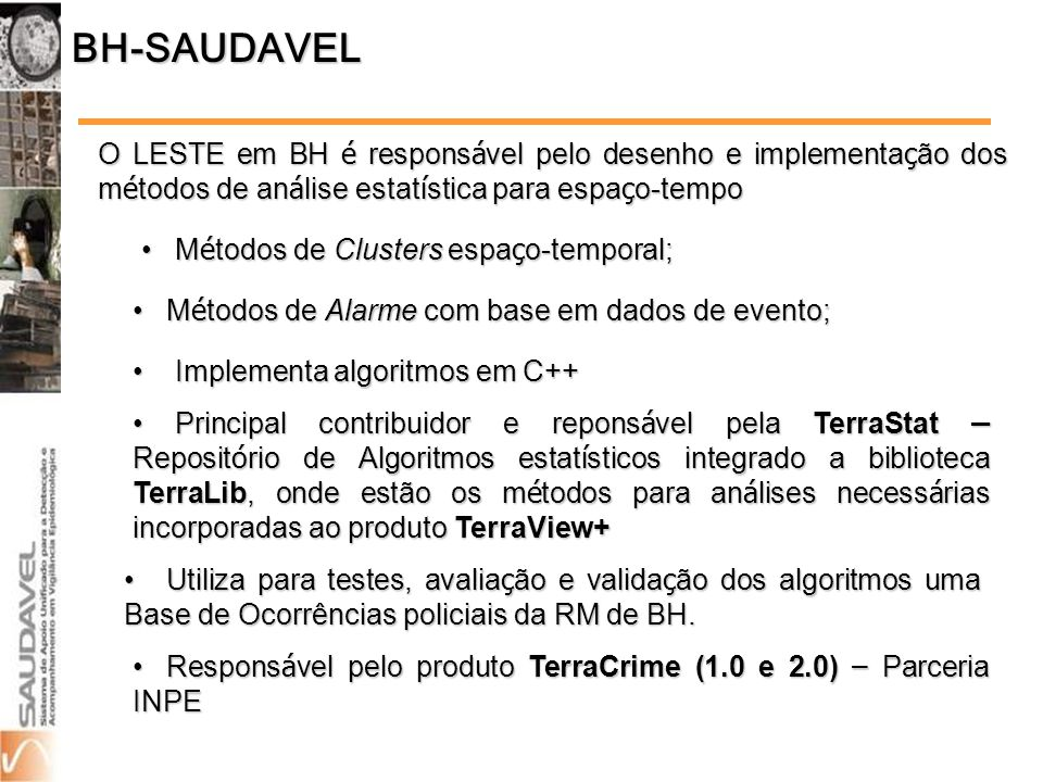 BH-SAUDAVEL O LESTE em BH é responsável pelo desenho e implementação dos métodos de análise estatística para espaço-tempo.