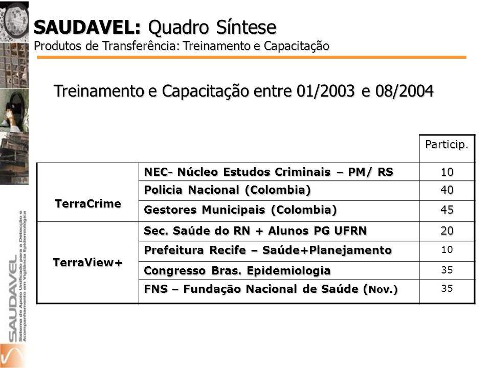 Treinamento e Capacitação entre 01/2003 e 08/2004