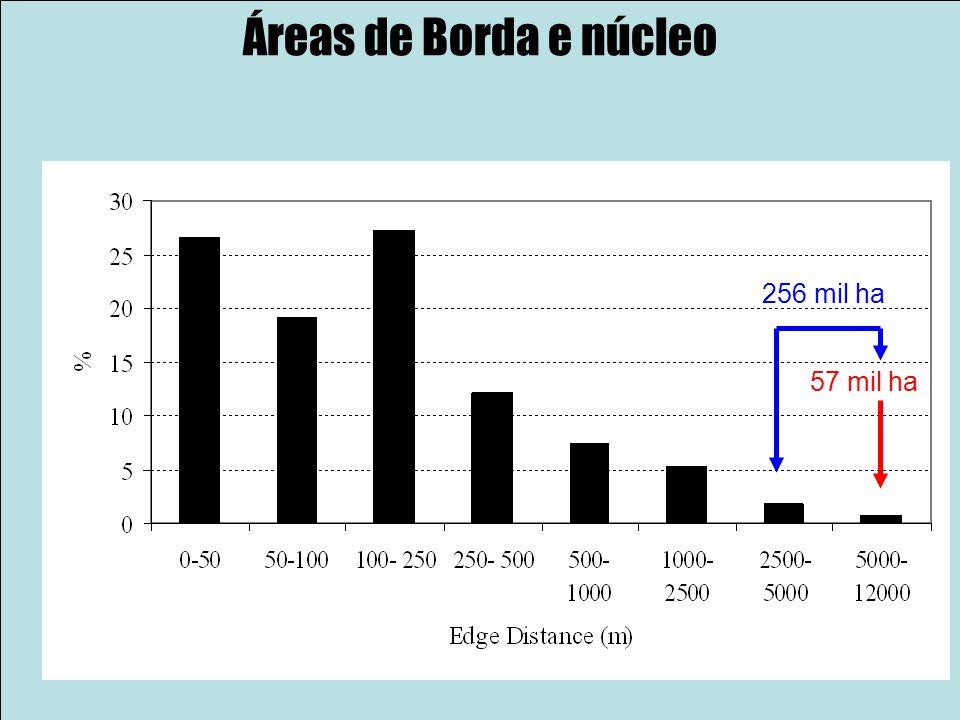 Áreas de Borda e núcleo 256 mil ha 57 mil ha