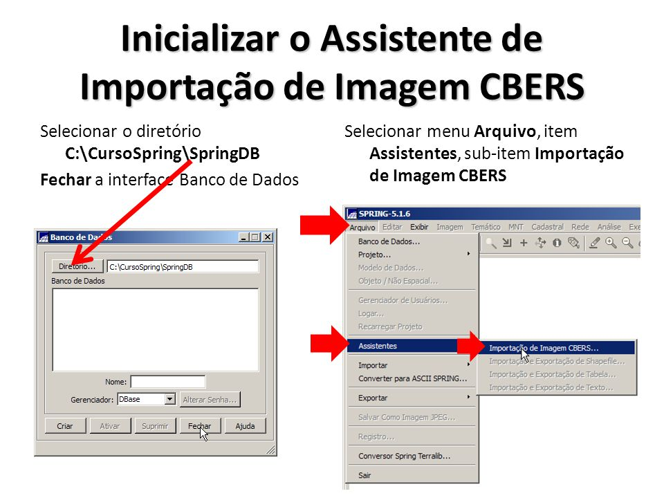 Inicializar o Assistente de Importação de Imagem CBERS