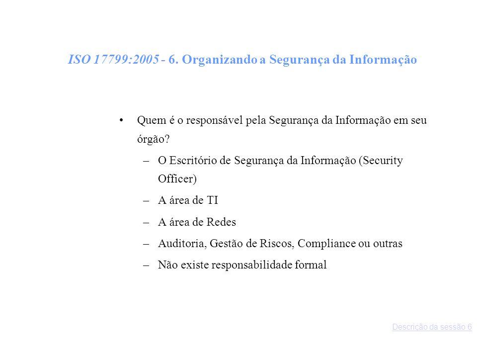 ISO 17799:2005 - 6. Organizando a Segurança da Informação