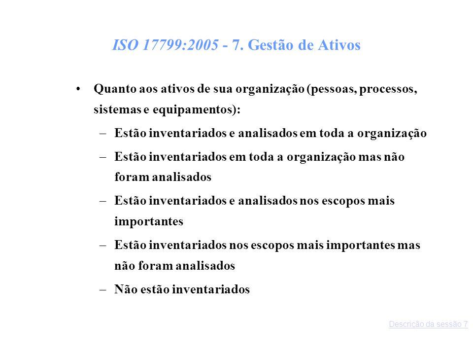 ISO 17799:2005 - 7. Gestão de Ativos Quanto aos ativos de sua organização (pessoas, processos, sistemas e equipamentos):