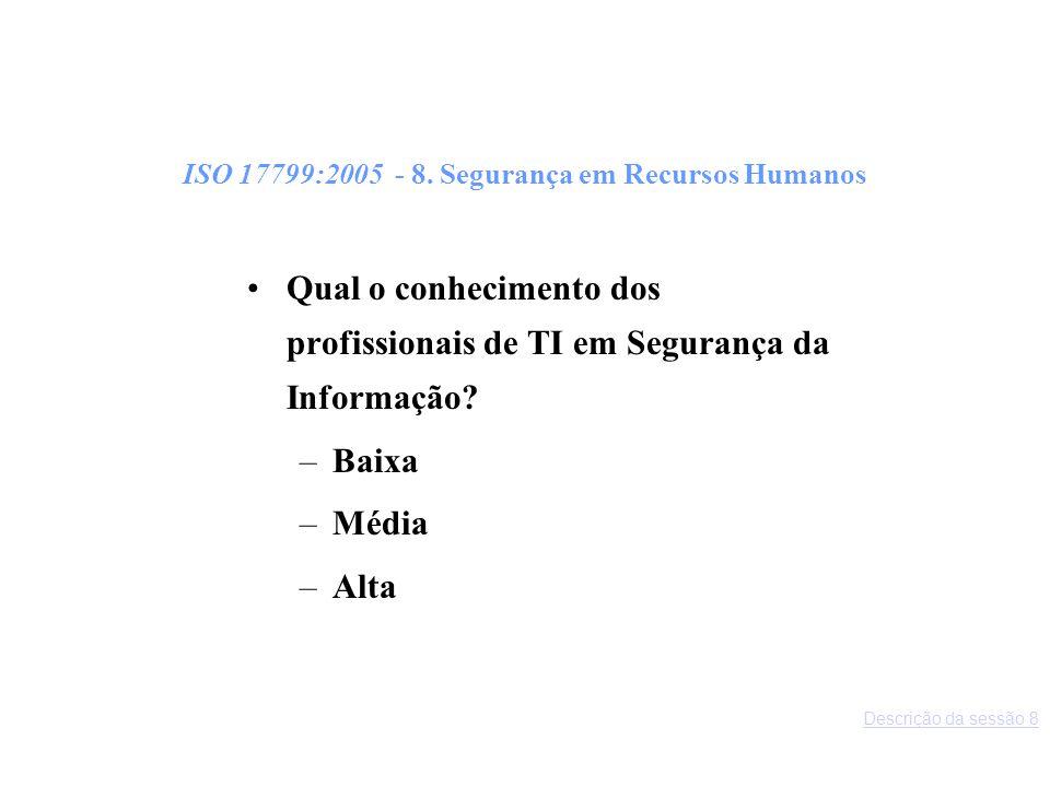 ISO 17799:2005 - 8. Segurança em Recursos Humanos