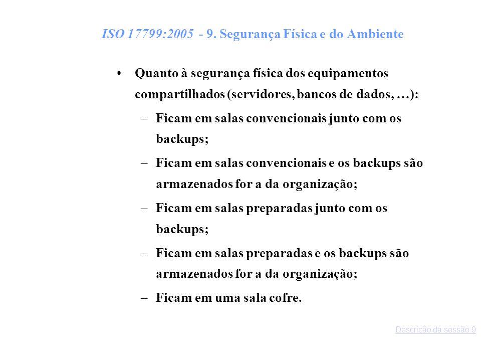 ISO 17799:2005 - 9. Segurança Física e do Ambiente