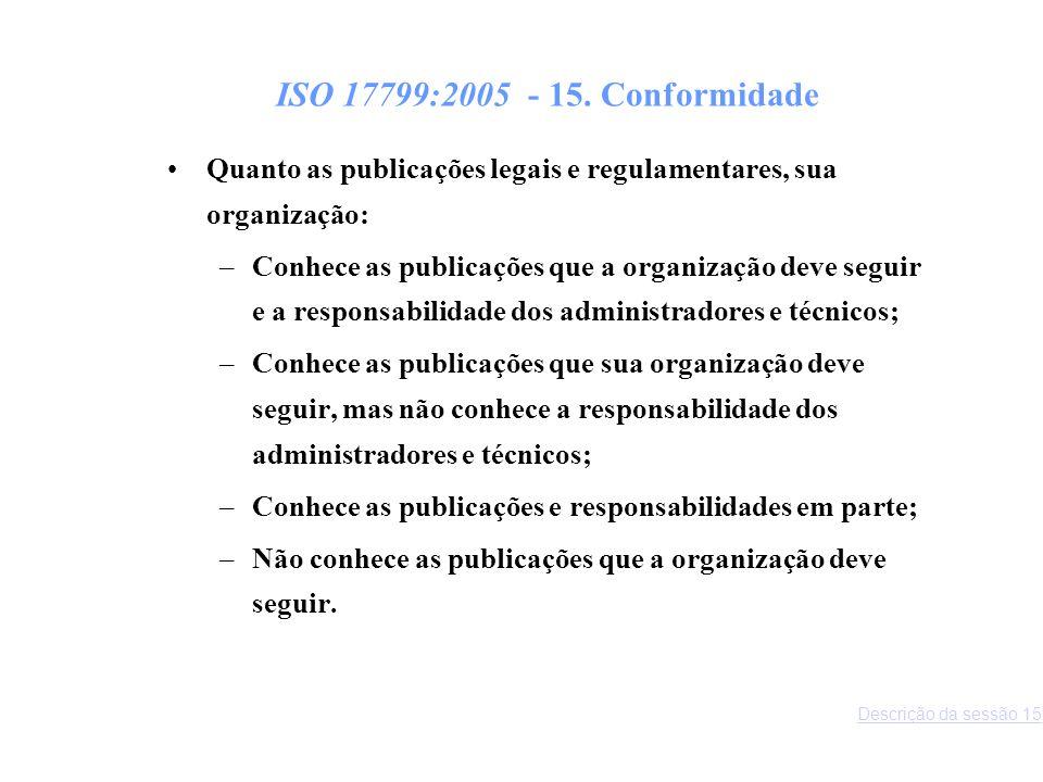 ISO 17799:2005 - 15. Conformidade Quanto as publicações legais e regulamentares, sua organização: