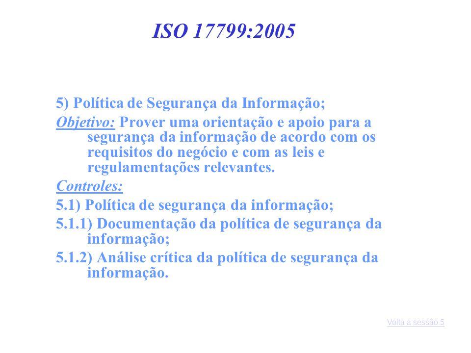 ISO 17799:2005 5) Política de Segurança da Informação;