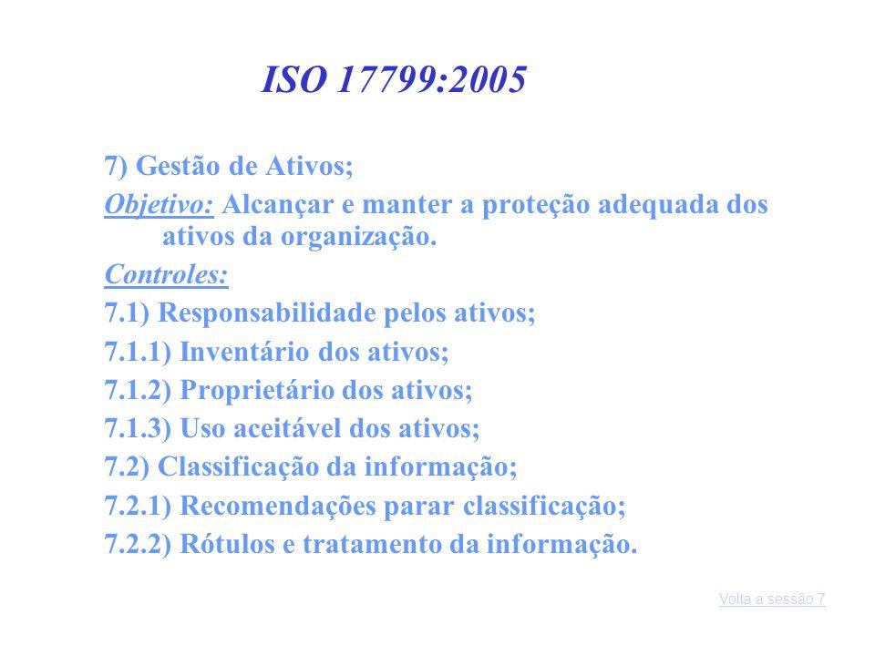ISO 17799:2005 7) Gestão de Ativos;
