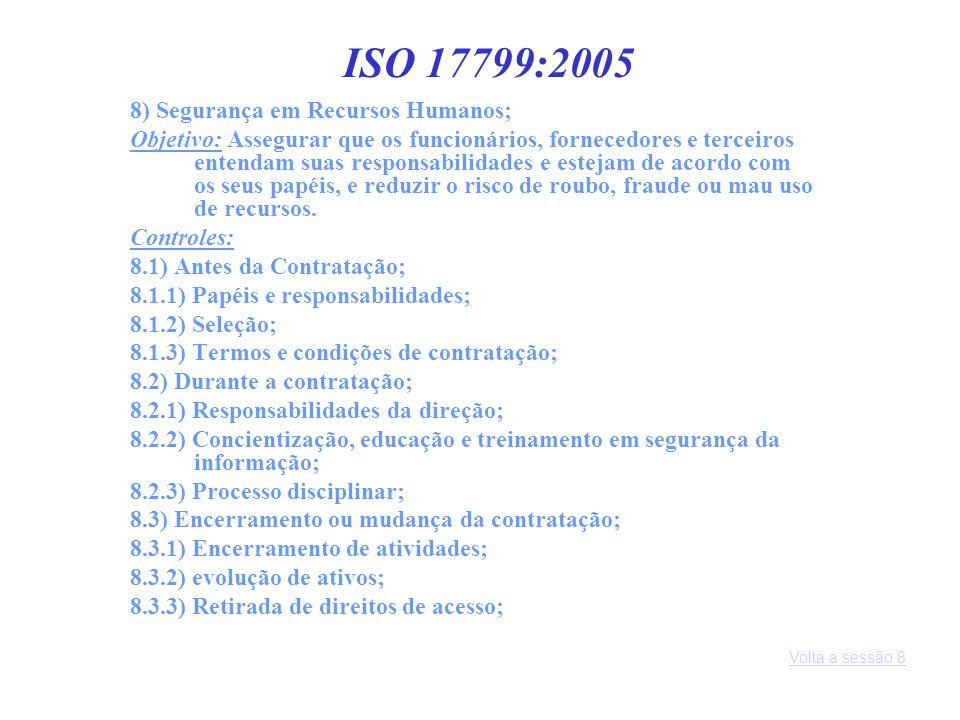 ISO 17799:2005 8) Segurança em Recursos Humanos;