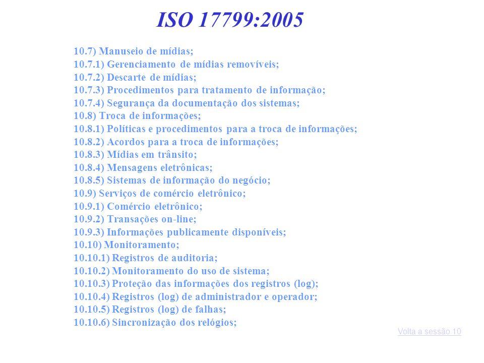 ISO 17799:2005 10.7) Manuseio de mídias;