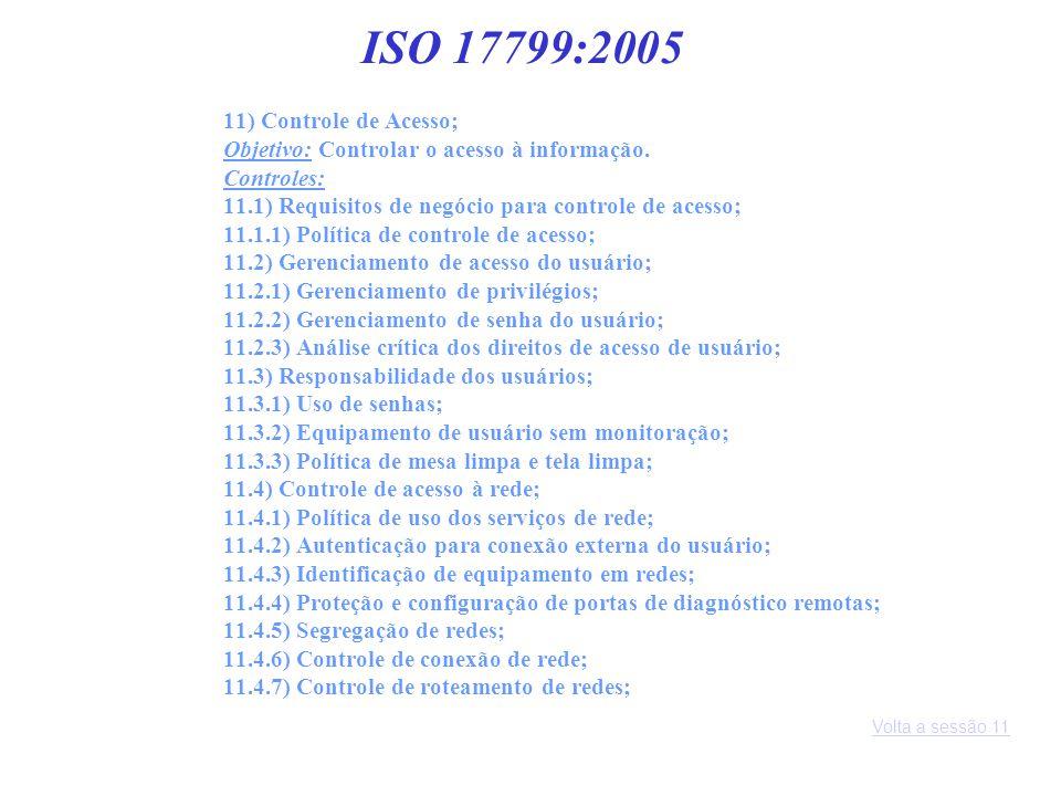 ISO 17799:2005 11) Controle de Acesso;