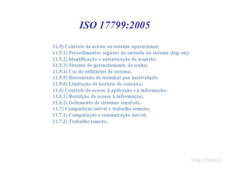 ISO 17799:2005 11.5) Controle de acesso ao sistema operacional;