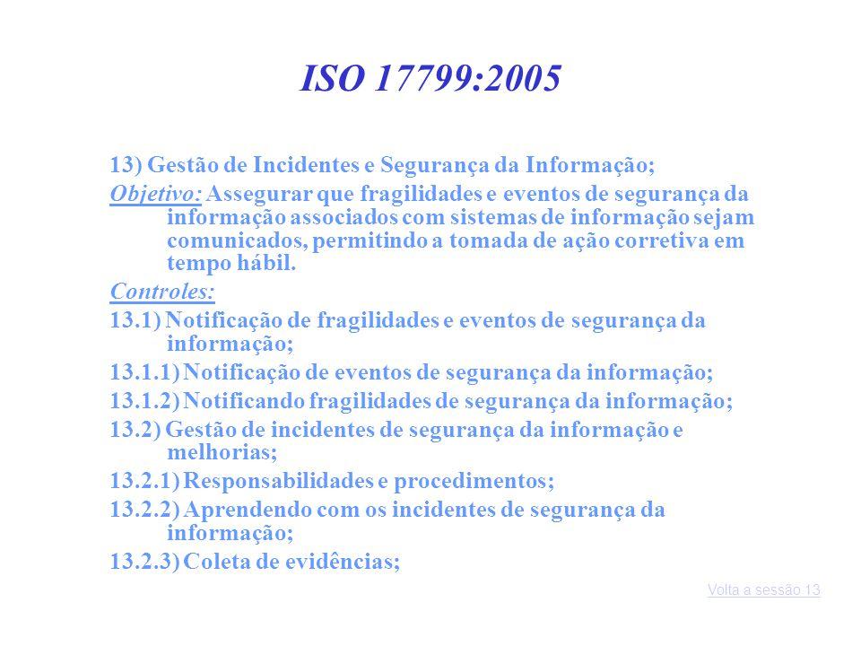 ISO 17799:2005 13) Gestão de Incidentes e Segurança da Informação;