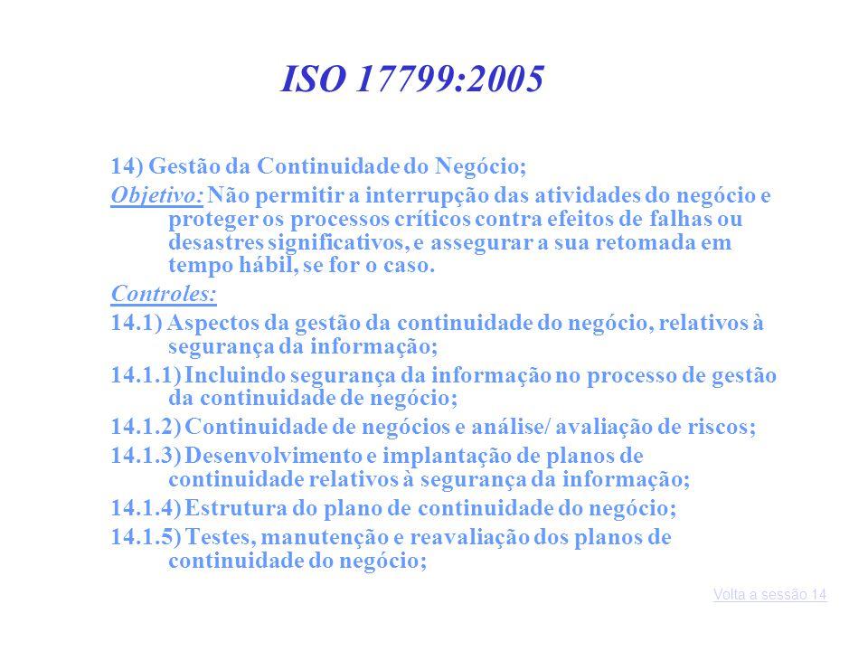 ISO 17799:2005 14) Gestão da Continuidade do Negócio;