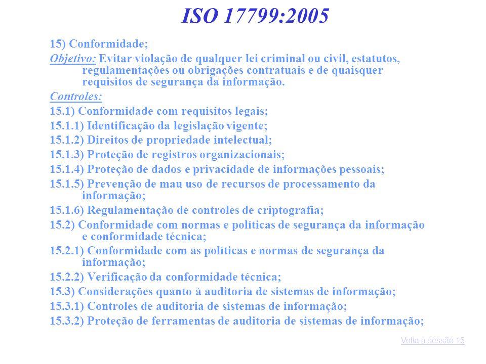 ISO 17799:2005 15) Conformidade;